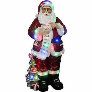 Fraser Hill Farm 4-Ft Life-Size Santa Claus Holding Naughty and Nice Scroll with Long-Lasting LED Lights, Indoor or Outdoor