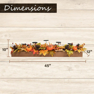 Fraser Hill Farm 42 Fall Harvest 5-Candle Holder Centerpiece with Pumpkins, Mixed Leaves and Pine Cones in a Wooden Box