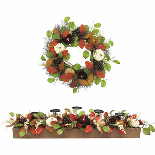 Fraser Hill Farm 42 Candle Holder and 24-inch Wreath Fall Harvest Decor Set with Varied Pumpkins and Pine Cones