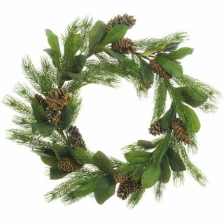 Fraser Hill Farm 34 Round Christmas Green Pine Wreath Trimmed with Magnolia Leaves and Pine Cone
