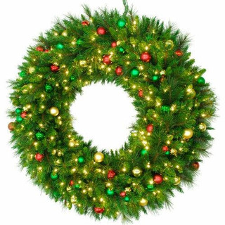 Fraser Hill Farm 48 Round Christmas Pine Wreath Trimmed with Ornaments and Warm White LED Lights