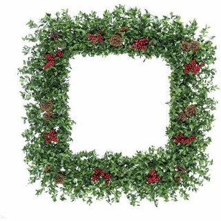 Fraser Hill Farm 36 Evergreen Berry Green Oversized Square Wreath with Pinecones and Berries