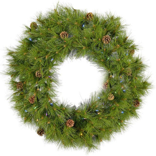 Fraser Hill Farm 48 Eastern Pine Artificial Holiday Wreath with Multi-Colored Battery-Operated LED String Lights