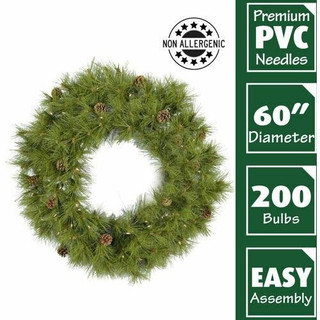 Fraser Hill Farm 60 Eastern Pine Green Christmas Decor Wreath with Warm White LED Lights
