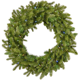 Fraser Hill Farm 36 Grandland Artificial Holiday Wreath with Multi-Colored Battery-Operated LED String for Indoor and Outdoor Displays