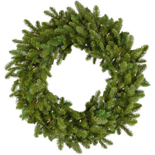 Fraser Hill Farm 48 Grandland Artificial Holiday Wreath with Clear Battery-Operated LED String Lights for Indoor and Outdoor Displays