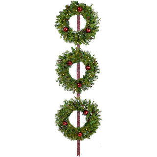 Fraser Hill Farm Set of 3 Holly Berry 24 Wreaths with Ornaments and 150 Battery-Operated LED Lights for Indoor and Outdoor Displays