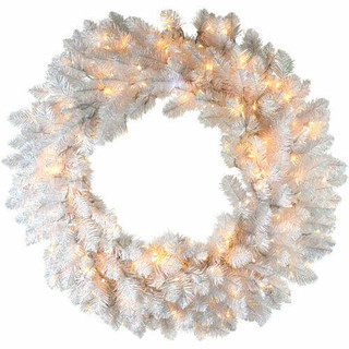 Fraser Hill Farm 36 Icy Fir Christmas Decor Wreath with Cool White LED Twinkle Lights