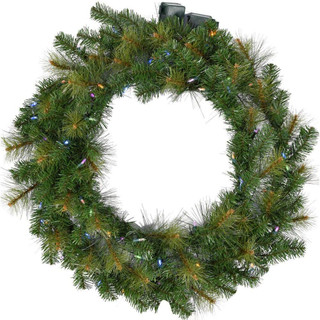 Fraser Hill Farm 48 Southern Peace Artificial Holiday Wreath with Multi-Colored Battery-Operated LED String Lights