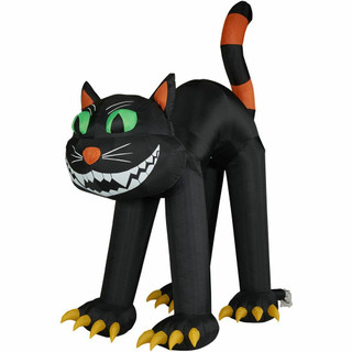 Haunted Hill Farm 10-Ft Halloween Inflatable Green Eyes Black Cat with Lights