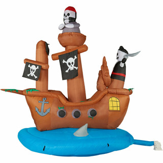 Haunted Hill Farm 10-Ft Halloween Inflatable Pirate Ship with Lights