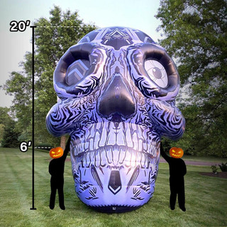 Haunted Hill Farm 20-Ft Halloween Inflatable Grey Printed Skull