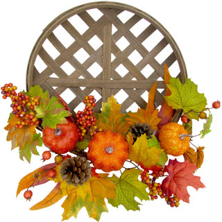 Fraser Hill Farm 22 Fall Harvest Wreath Door Hanging with Pumpkins and Pine Cones in a Classic Tobacco Basket
