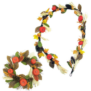 Fraser Hill Farm 24 Wreath and 9-ft Garland Fall Harvest Decor Set with Corn Husks, Pumpkins and Pine Cones