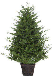 Fraser Hill Farm Adirondack Potted Christmas Tree Decor, Various Sizes and Lighting Options