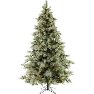 Fraser Hill Farm Glistening Pine Christmas Tree with Pine Cones, Various Sizes and Lighting Options