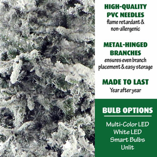 Fraser Hill Farm Mountain Pine Flocked Christmas Tree, Various Sizes and Lighting Options