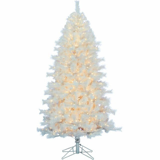 Fraser Hill Farm Frosted Valley White Christmas Tree, Various Sizes and Lighting Options