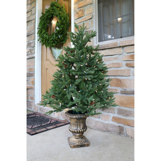 Fraser Hill Farm Noble Fir Christmas Tree with Metallic Urn Base, Various Sizes and Lighting Options