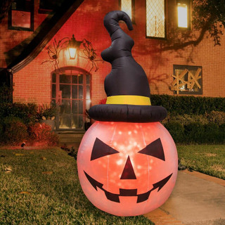 Haunted Hill Farm 10-ft Halloween Inflatable Pumpkin with Black Hat and Fire Lights