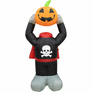 Haunted Hill Farm 6-ft Halloween Headless Pumpkin Inflatable with Arm Motion and Lights