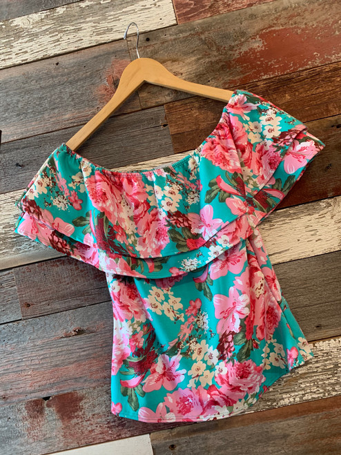Girl's Teal Floral Ruffle Top