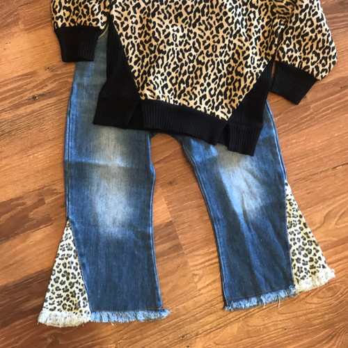 Girl's Leopard Flare Denim