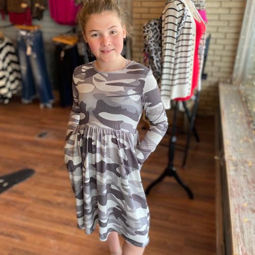 Girl's Gray Camo Swing Dress