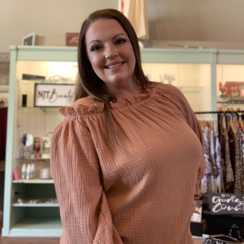 W Toffee Off Shoulder Ruffle Top