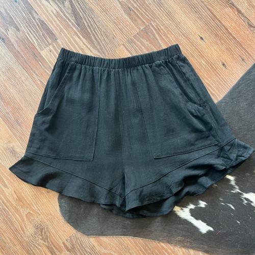 W Black Ruffle Charm Linen Shorts