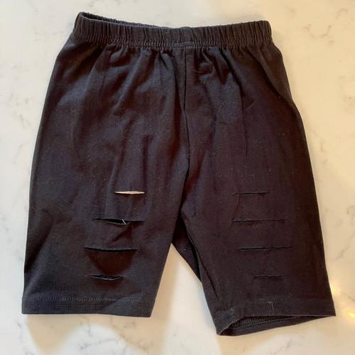 Girl's Black Distressed Biker Shorts