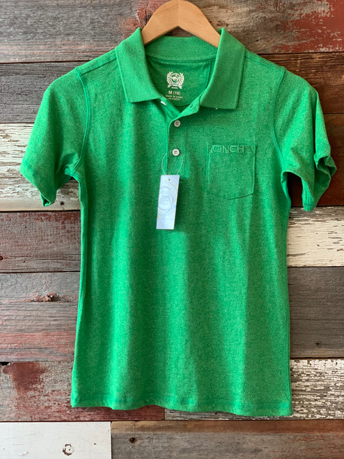 Cinch Boy's Green Polo