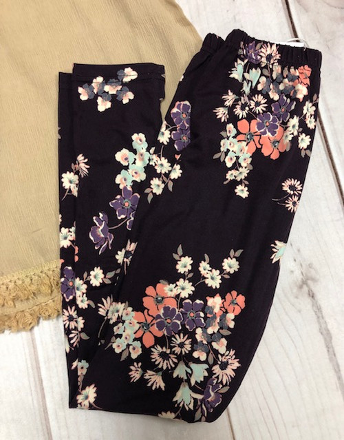 Girl's Plum Floral Leggings