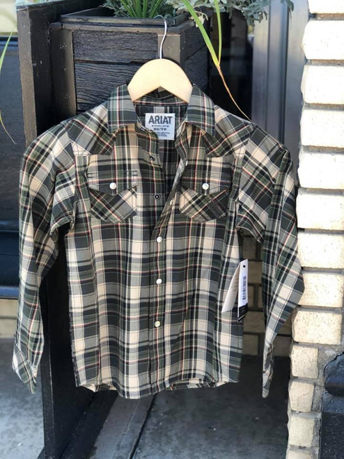 Ariat Boys  Green Plaid Kameron LS Retro Snap