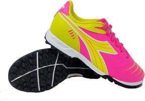 Diadora Cattura Junior Turf Soccer Shoe - Neon Pink | Yellow
