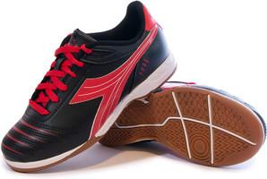 Diadora Cattura Junior Indoor Soccer Shoe - Black | Red - Virtual Soccer Exclusive