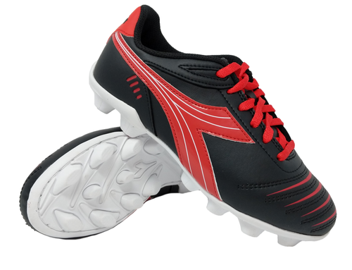 Diadora Kids Cattura MD JR Soccer Cleats - Black | Red - Virtual Soccer Exclusive