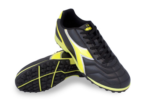Diadora Capitano Turf Soccer Shoe - Black | Yellow Fluo - Virtual Soccer Exclusive