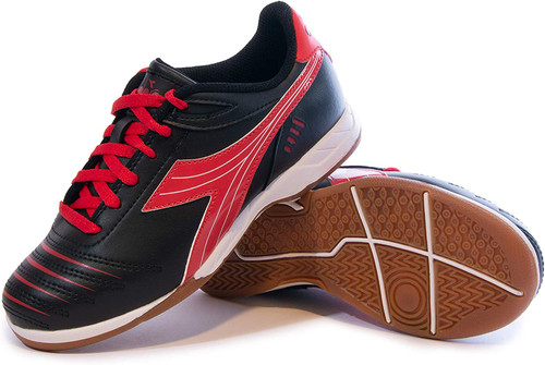 Diadora Cattura Junior Indoor Soccer Shoe - Black | Red - Virtual Soccer Exclusive