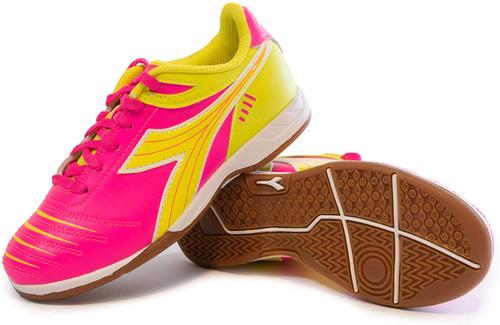 Diadora Cattura Junior Indoor Soccer Shoe - Neon Pink | Yellow - Virtual Soccer Exclusive