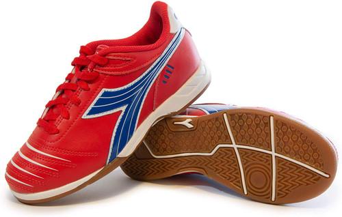 Diadora Cattura Junior Indoor Soccer Shoe - Red | Royal - Virtual Soccer Exclusive