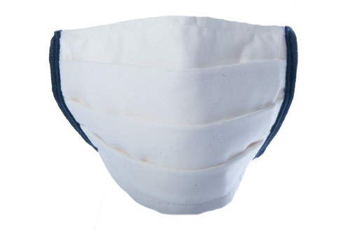 Reusable PPE Mask 3 Layers with Ties - 5-Pack - White / Blue