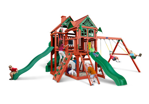 Front view of the Redbrook Deluxe Swing Set from Playnation