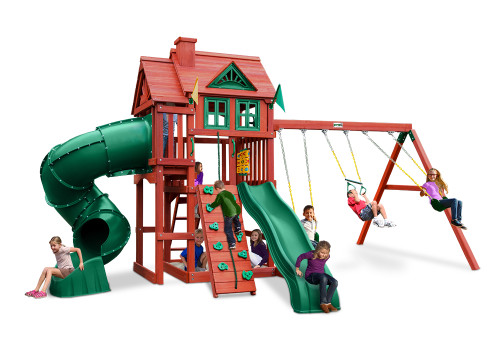 Front view of Nantucket Deluxe Play Set from Playnation play systems.