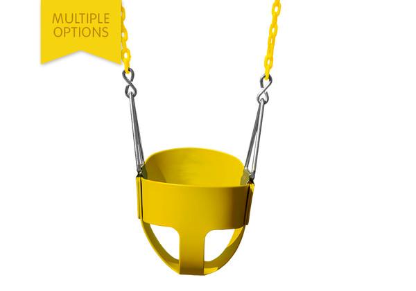 Studio shot of  Full Bucket Toddler Swing from PlayNation.