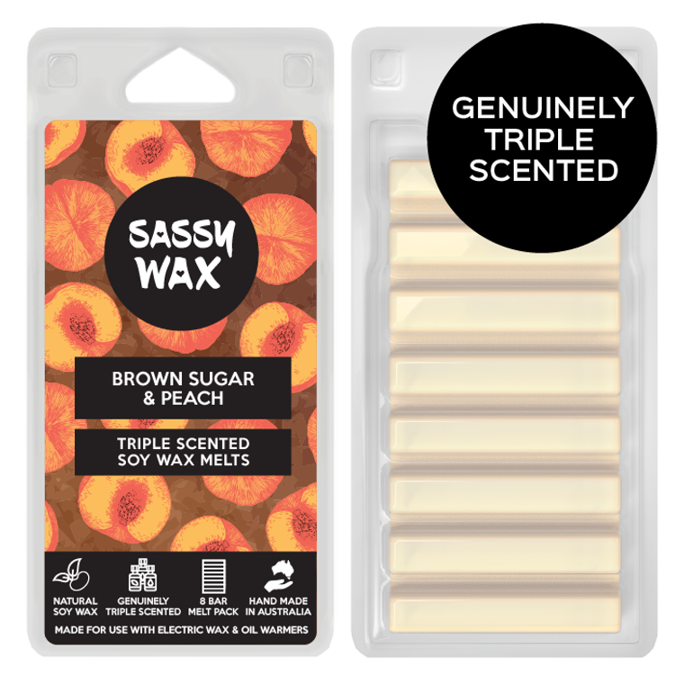 Brown Sugar & Peach Triple Scented Soy Wax Melts 8 Pack