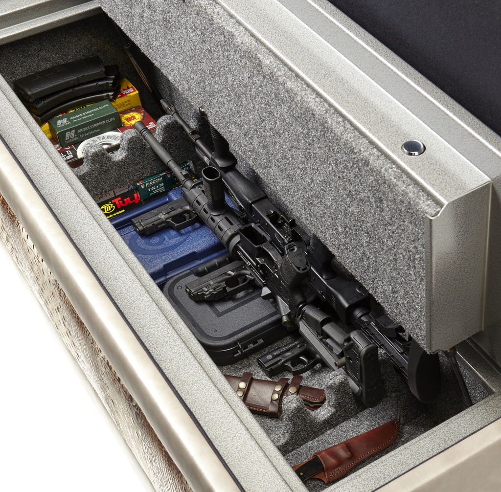 Hidden Gun safe bench.