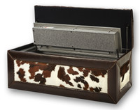 Beautiful leather hidden gun safe furniture safe open.