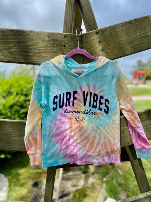 Surf Vibes Little Girls Crop Hoodie Heatwave