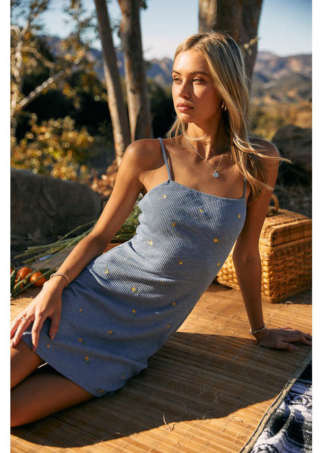 Embroidery Ribbed Dress